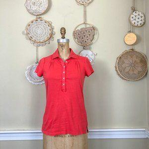Eddie Bauer Orange Coral Polo Short T Shirt S
